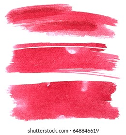 Set of red brush strokes isolated on the white background
