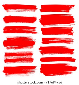 Set of red brush strokes isolated on the white background - raster illustration