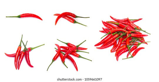 Set of red chili pepper on white background.