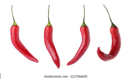 Set of red chili peppers on white background