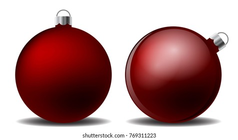 set of red christmas balls with shadow on white background