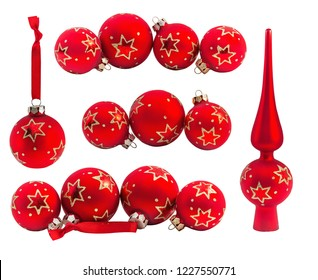 Set of  red christmas bauble, ball and top tree's with ornament isolated on white background