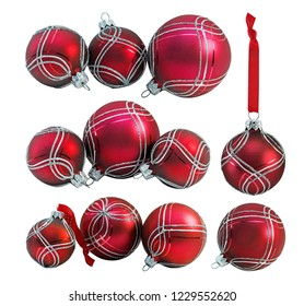 Set of  red christmas bauble, ball with ornament isolated on white background
