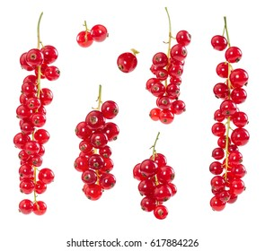 Set of red currants isolated on white background