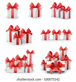 set of red gift box isolated for Christmas, New Year's Day 3d rendering