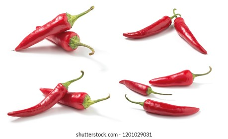 Set of Red hot chilli peppers isolated on white  background