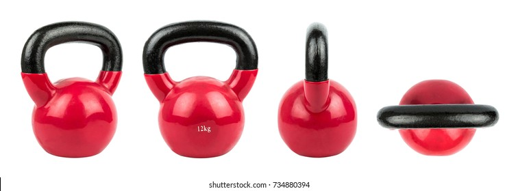Set Red Kettlebell, Top view and Side View Healthy Concept Isolated on White Background.