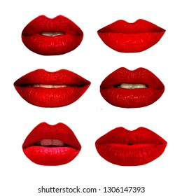 A set of red lips expressing different emotions on white background. Makeup swatches. Red lipstick demonstration.