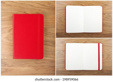 Set of red open and closed notebooks on the table