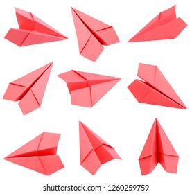 Set of red origami paper planes