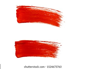 set of red paint brush strokes
