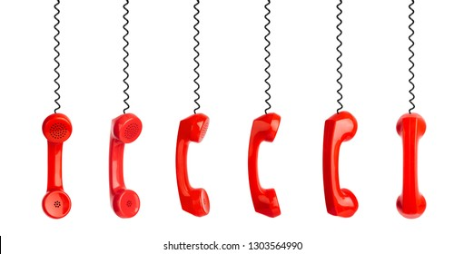 Set of red phones isolated on white background