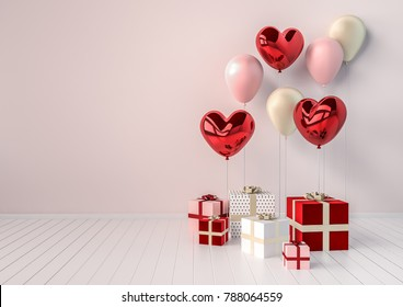 Set of red and pink glossy 3d realistic balloons in heart shape with stick. Valentine's Day or wedding day romantic background for party, events, presentation or promotion banner, posters.
