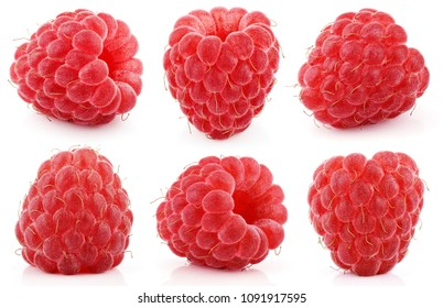 Set of red raspberry berry fruits isolated on white background