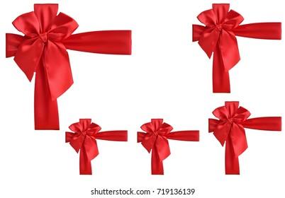 set red ribbon isolated on white background