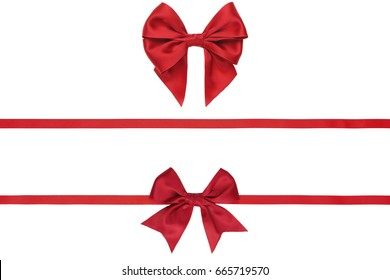 Set of red ribbons and bows isolated on white background. Studio shot.