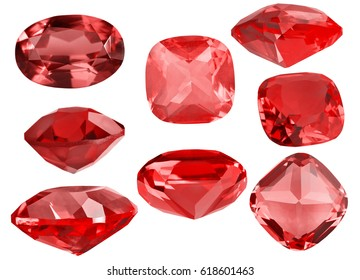set of red ruby gems isolated on white background