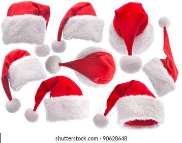 set red Santa Claus hat on white background