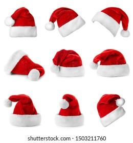 Set of red Santa Claus hats on white background - Shutterstock ID 1503211760