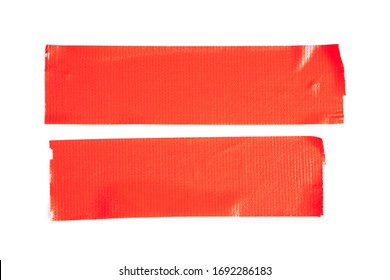 Set of red tapes on white background. Torn horizontal and different size sticky tape, adhesive pieces.
