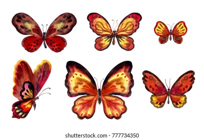 Set of red-yellow-brown butterflies, watercolor painting on white background isolated with clipping path.