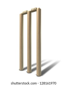 A set of regular wooden cricket wickets and bails on an isolated background