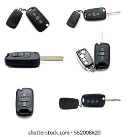 Set of a remote car keys isolated on a white background