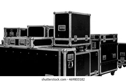 set of rental companies grunge aluminium wooden flight cases. isolated on the white background