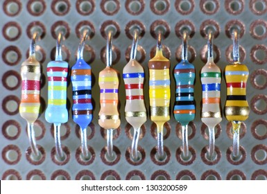 Set of resistors on a printed circuit board