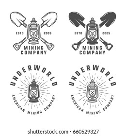 Set of retro mining or construction logos, badges, emblems and labels in vintage style. Monochrome Graphic Art. Illustration.