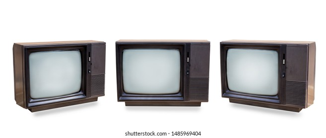 Set of retro old television isolated on white background. vintage three black old TV with clipping path