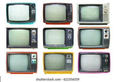 Set of retro television - Old vintage TV isolate on white, retro technology.