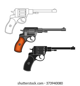 Set of revolvers on a white background.