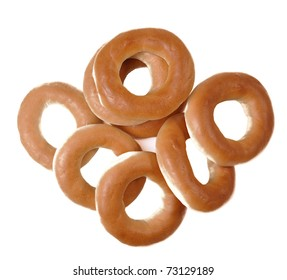 set of ring bagels isolated on a white background