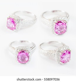 set of Ring of the jewelry with pink sapphire isolated on white background