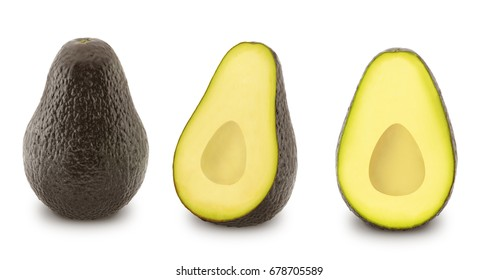 Set of ripe avocados isolated on white background.