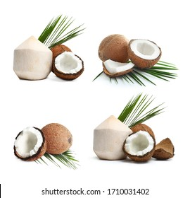 Set of ripe coconuts isolated on white