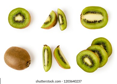 Set of ripe kiwis, halves and pieces in different angles on a white. The view from the top.