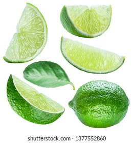 Set of ripe lime slices and lime leaf on white background.  File contains clipping path.