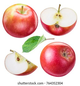 Set of ripe red apples and apple slices. File contains clipping path.