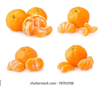 Set of ripe tangerine with slices isolated on white background
