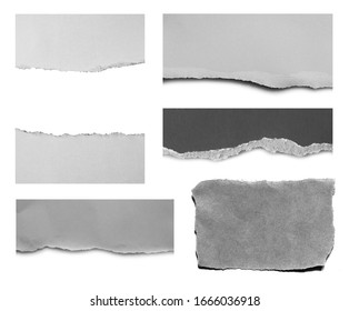 Set of ripped paper isolated on white background