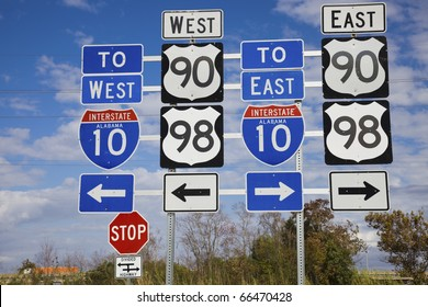 Set of road signs - seen in Mobile, Alabama.