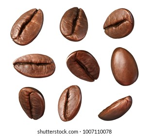 Set of roasted coffee bean isolated on white background, with clipping path, 3d illustration