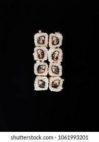 set of rolls on a black background