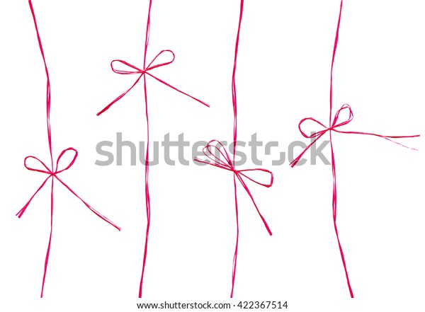 Set of ropes and bows. Thin ribbon made of natural hemp or straw for ecological concept design. Rustic style decor