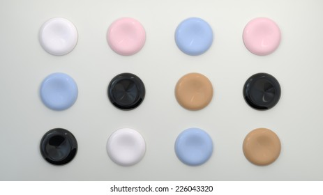 a set of round buttons made of fine glossy plastic