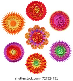 a set of round decorative flowers made of plasticine, stylized in ornament, for decorative packaging, design and children's creativity