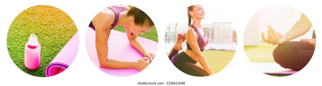 Set round design icons sport Woman doing yoga practice asana details hands muscles exercise workout bottle water rug Open air space terrace green grass. Fuchsia Black Green colors Active life concept