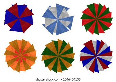 Set of Round Pattern Made of Various Color of Triangle Shapes Design for Cards, Posters, Invitations, Brochure and Website.